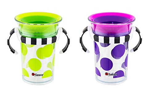 - Sassy Tritan Trainer Cup 7 Ounces, 2 Pack - 6+ Months Pediatric Dentist recommended 360˚ Spoutless Sippy Cup Design BPA-free & Top-Rack Dishwasher Safe
