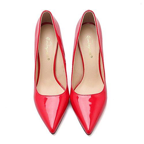 AalarDom Damen Stiletto Spitz Zehe Ziehen Auf Weiches Material Pumps Schuhe Rot-Mikrofaser