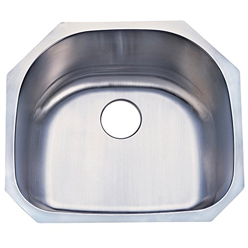 Kingston Brass Gourmetier GKUS2321 Undermount Single Bowl Kitchen Sink 23-1/2-Inch-Length  by 21-Inch-Width by 9-Inch-Depth, 18 Gauge, Brushed Stainless - Inch Sink Undermount 21
