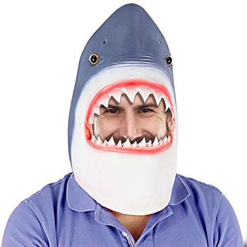 LETIN Deluxe Novelty Halloween Mask Costume Party Latex 3D Animal Shark Head Mask -