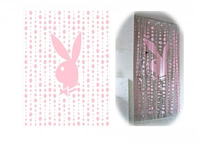 PLAYBOY NEW OFFICIAL PRODUCT SHOWER CURTAIN PVC PINK CLEAR CUTE