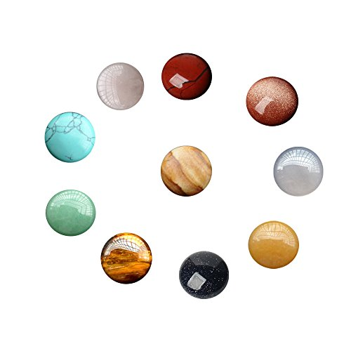 10 Pcs Natural Gemstone and Crystal Round 16mm Mixed Color Cabochons Beads Lots Wholesale Supplies for Handmade DIY Jewelry Making ( No Hole Random Color) Cabochons Gemstones Jewelry