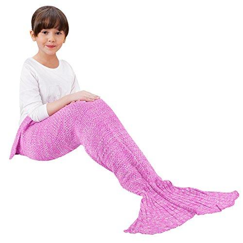 Pale Man Costumes (Handmade Knitted Mermaid Tail Blanket Crochet,T-tviva All Seasons Warm Bed Blanket Sofa Quilt Living Room Sleeping Bag for Kids (kids/55.1