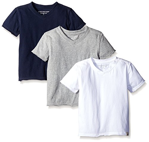 Burt's Bees Baby Baby Boys' Toddler T-Shirts, Set of 3 Organic Short Long Sleeve V-Neck Tees, White/Grey/Navy, 5 Years