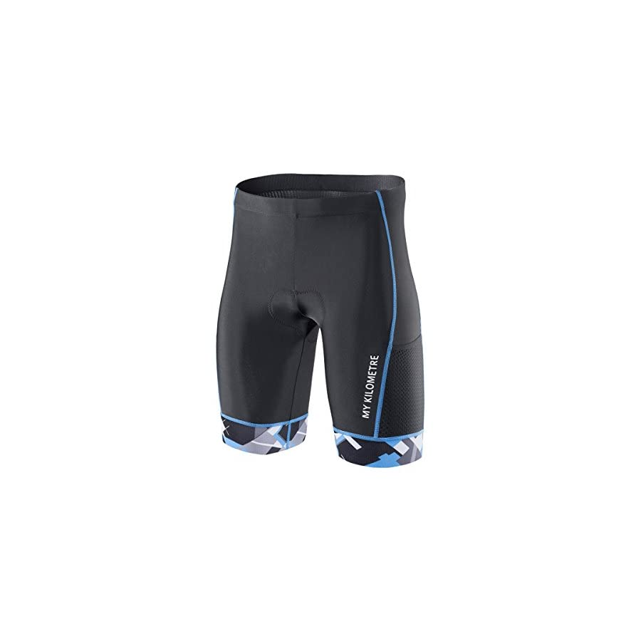 "MY KILOMETRE Triathlon Shorts Mens 9""Black | Easy Reach Leg Pockets | Chamois for Long Distance Tri Race"