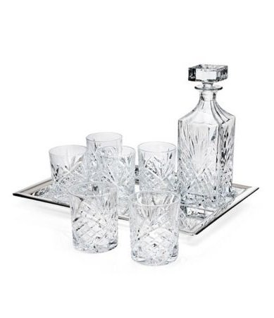 DUBLIN CRYSTAL 8 PIECE WHISKEY SET - Includes One Decanter, 6 DOF Glasses, and one Silver Plated (Silver Plated Decanter)