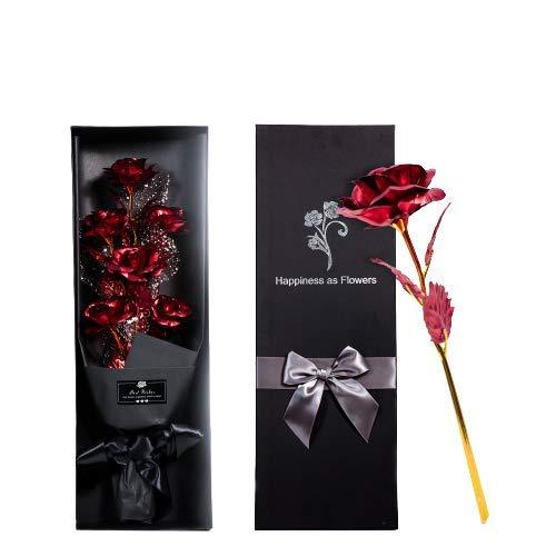 LORDIM – Rosa eterna roja para regalo de San Valentín, regalo de Navidad, hojas de oro, regalo de cumpleaños artificial…
