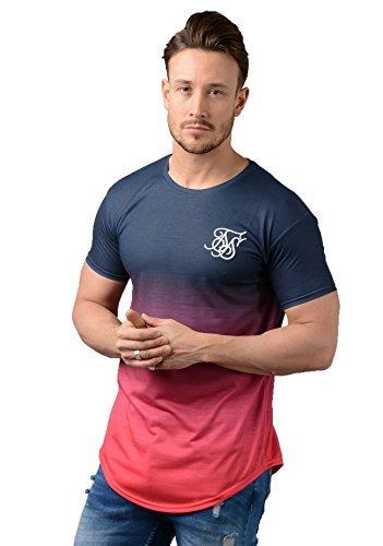 Sik Silk Siksilk Camiseta - Hombre 12403 Dobladillo Curvado Desteñido Camiseta EN Rojo Puesta de Sol: Amazon.es: Ropa y accesorios