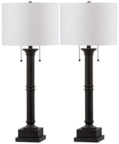 Table Lamp Column Black (Safavieh Lighting Collection Estilo Column Silver Grey 35.25-inch Table Lamp (Set of 2))
