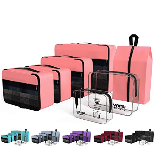 dff0361d23 YAMIU Packing Cubes 7-Pcs Travel Organizer Accessories with Shoe Bag   2  Toiletry Bags