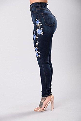 Hipster Jeans Oudan Pantalon Pantalons d't Jeans Fleurs Taille Fonc avec Brod Skinny Haute Skinny Bleu Zipper des Jeans Jeans Jeans fzn7rfw8q