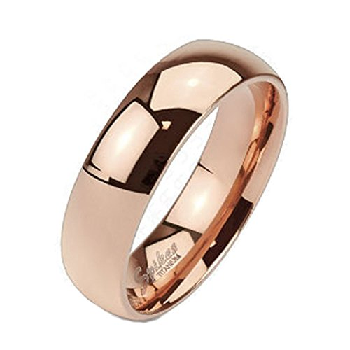 ium Rose Gold IP 6mm Wide Classic Band Ring; Comes With Free Gift Box (11) (Titanium Dome)