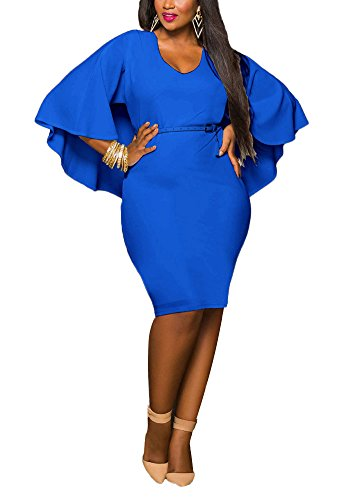 Minetom Femme t Grande Taille Robe Sexy Batwing Robe De Cocktail Solide Couleur Loisir Slim Bodycon Dress Bleu