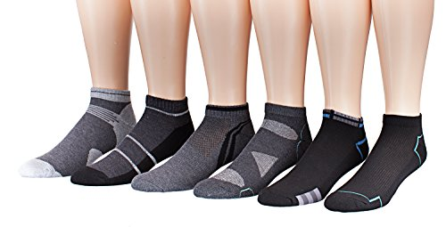 James Fiallo Mens 6-Pack Low Cut Athletic Socks, Size 10-13 Fits shoe 6-12, 2894-6