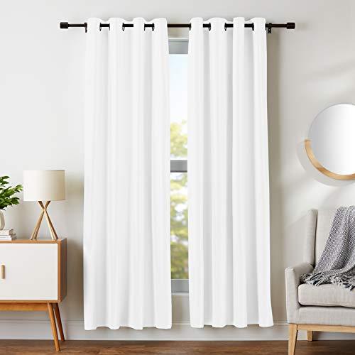 AmazonBasics Room Darkening Blackout Window Curtains with Grommets  - 52' x 84', White, 2 Panels