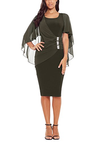 Puff with Army Sleeve Pockets Round Neck Dress Pencil Women's Green1 Bulawoo Belted tHZfqq