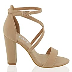 de346404ef9 Essex Glam Womens Strappy Block Heel Nude Faux Suede Ankle Strap. Womens  Chunky Block Heel Strappy Ankle Strap Sandals Party Shoes