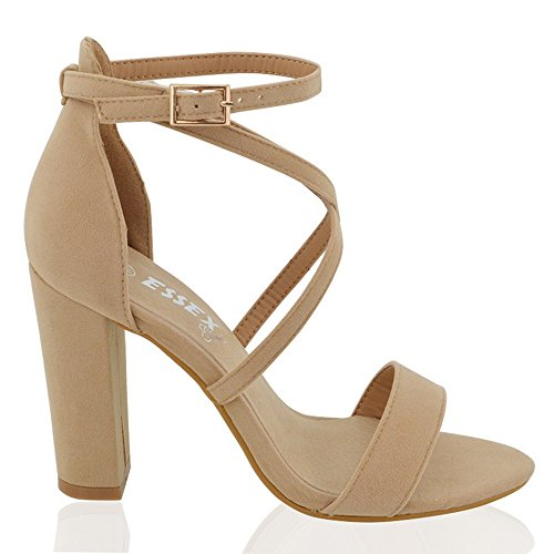 b5188e050 ESSEX GLAM Womens Strappy Block Heel Nude Faux Suede Ankle Strap Sandals 8  B(M