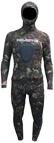Palantic Spearfishing Neoprene Camouflage Stretch Max 5mm Two Piece Farmer John Wetsuit, X-Large