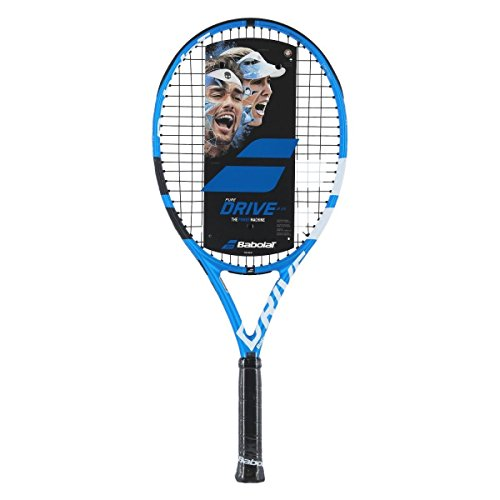 Babolat Pure Drive 25 Junior Blue/White Tennis Racquet (4 1/8 Inch Grip) Strung with Pink String