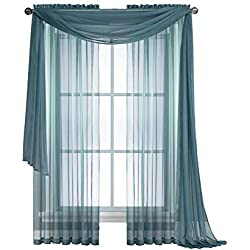 """LinenZone Amazing Sheer Window Scarf Fabric Sheer Voile Curtain for Window Treatment - Add to Window Curtains for Enhanced Effect (1 Scarf 56""""x144"""", Dusty Blue)"""