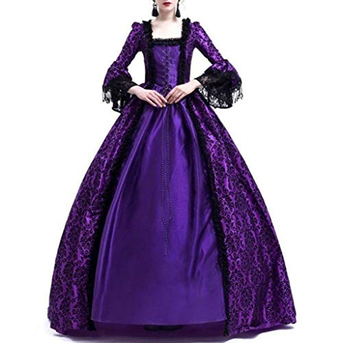 Women Gothic Victorian Lolita Dresses Lace Steampunk Maxi Medieval Renaissance Vampire Halloween Costumes Ball Gown (S, Purple) -