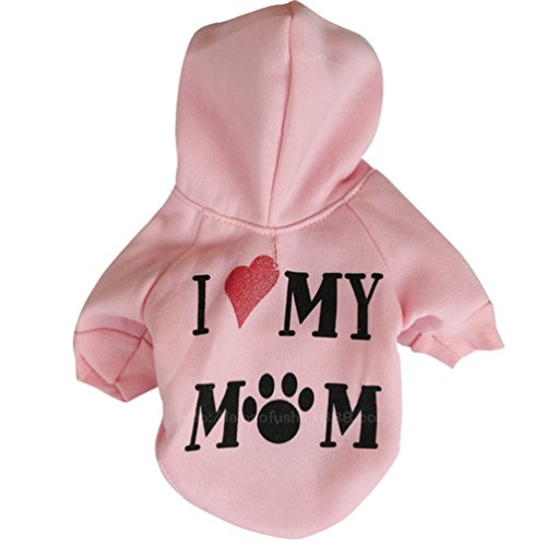 Mummumi Small Dog Winter Clothes, Puppy Warm Autumn Clothes Outwear Cat Windproof Pet I Love My Mom Hoodies Cotton Soft T-shirt For Small Pet Dog Chihuahua Yorkshire Tidy (S, Pink)