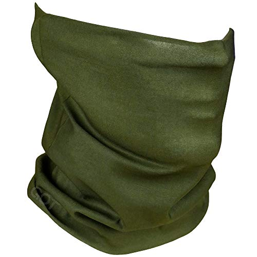 Face Mask Versatile Headwear - Works as Fishing Sun Mask, Neck Gaiter, Headband, Bandana, Balaclava - Multifunctional Breathable Seamless Microfiber (Army Green)]()