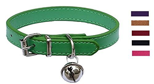 Green Leather Pet collars for Cats,Baby Puppy Dog,Adjustable 8