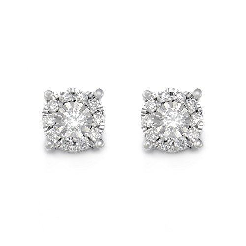14k White Gold Round Diamond Miracle Plated Stud Earrings (1/2cttw, H-I Color, I2 Clarity) ()