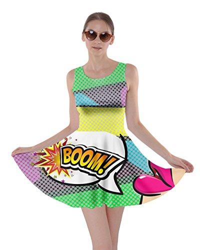 CowCow Womens Yellow & Green Boom Pop Art Skater Dress, Yellow - XL