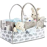 Baby Diaper Caddy Organizer for Nursery Essentials - Baby Moments Storage Bin for Changing Table, Nice Baby Shower Gift Basket for Boys and Girls