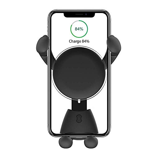 AAJO Car Mount Wireless Charger, Adjustable Gravity Air Vent Mount for Car Compatible with Phone X/8/8Plus/7/7Plus/6s/6P/5S, Galaxy S5/S6/S7/S8, Google, Huawei etc (Black)
