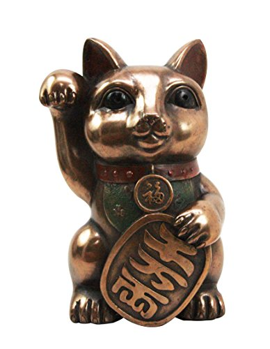 Japanese Lucky Cat Maneki Neko Figurine Fortune Beckoning Calico Kitty Charm Statue Decor -