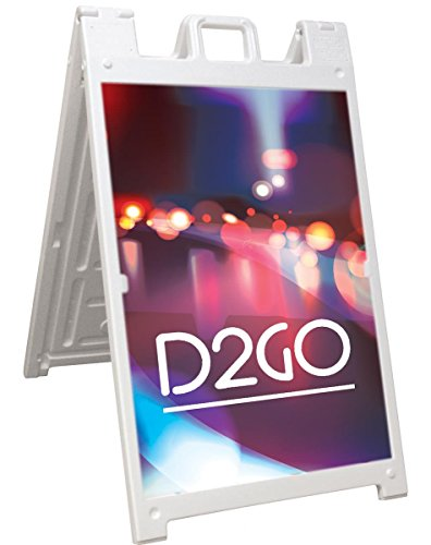 Sidewalk Signs with 24x36 Coroplast Boards, White Plastic Sandwich Boards for Outdoor Use, Built-in Handle on Top, Slide-in Setup by Displays2go