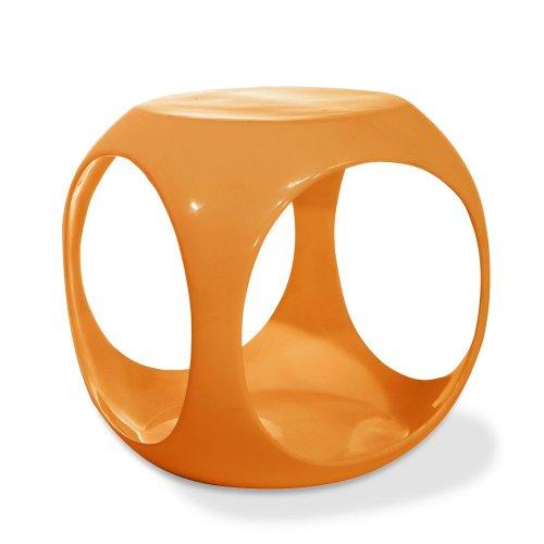 AVE SIX Slick High Gloss Finish Cube Occasional Table, Orange - Slick Cube Occasional Table