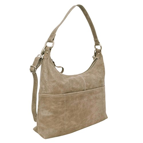 Latico Leathers Roberta Shoulder Bag Genuine Authentic Luxury Leather, Designer Made, Business Fashion and Casual Wear, Pebble Steel by Latico