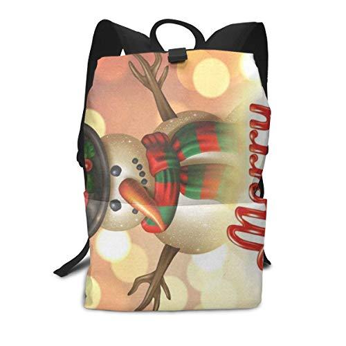 Funny Personalized Backpack Merry Christmas Snowman Zipper School Bookbag Daypack Travel Rucksack Gym Bag For Man Women (Best Weekend Getaways From Sf)