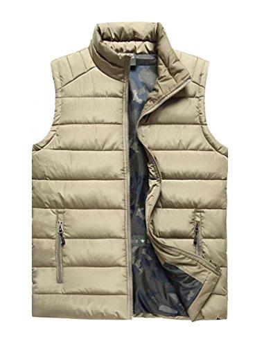 Vcansion Men's Stand Collar Lightweight Vest Casual Jacket Coat Vest Khaki US L/Asia 3XL