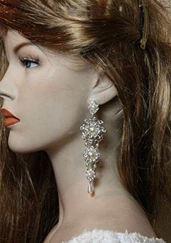 - Bridal Earrings Exquisite Chandelier Bride Deluxe Earrings Wedding Earrings soft white Pearls Rhinestone,Swarovski Crystal Victorian Earrings
