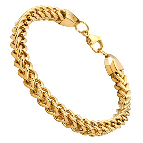 Franco Chain Bracelet Gold (GWL Stainless Steel Franco Cuban Chain Link Bracelet for Men Women 8.5 inches 6mm Gold)