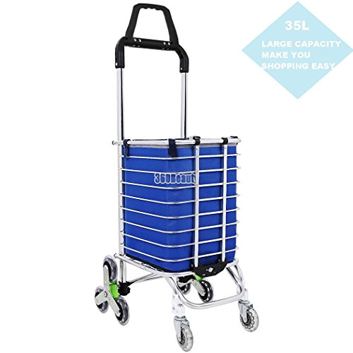 Meditool Swivel Folding Shopping Cart, Super-deluxe Utility Cart, 8 Wheels Heavy Duty Aluminum Convenient Waterproof Canvas Stair Climber Shopping Grocery Laundry Cart
