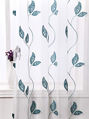 Floral Vine Curtain Panel - AmHoo Floral Leaf Embroidery Voile Sheer Curtains Rod Pocket Semi Sheer Curtain Panel Set of 2 for Living Bedroom Window Treatment (Vine Leaves-Green, 53 x 63)