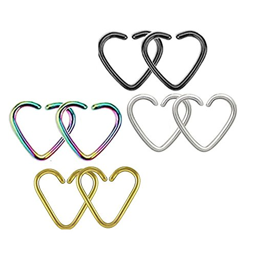 (BODYA multicolor 4-8pcs 18 gauge tiny niobium Heart Captive Ring daith Ear Cartilage Earring Rook tragus Helix piercing Jewelry (8x all color))