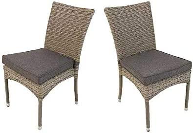 Pack 2 sillas para jardín apilables, Tamaño: 45x55x87 cm, Aluminio y rattán sintético Color Gris, Cojín Antracita