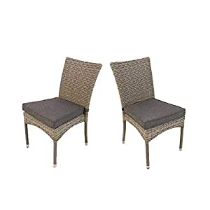 Pack 2 sillas para jardín apilables | Tamaño: 45x55x87 cm ...
