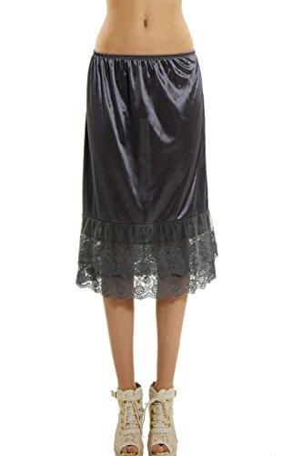 Melody Long Double lace Satin Half Slip Skirt Extender Underskirt- 24