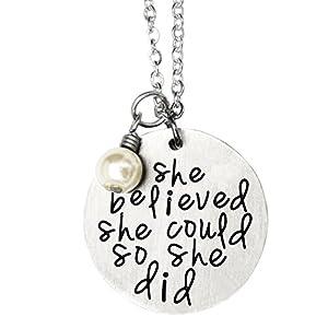 O.RIYA Oriya Stainless Steel She Believed She Could So She Did Necklace Bracelet Gift for Women Girl, Inspirational Necklace Bracelet
