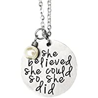 ORIYA Stainless Steel She Believed She Could So She Did Necklace Bracelet Gift For Women girl, Inspirational Necklace Bracelet