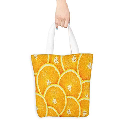 - Canvas shopping bag,Orange Realistic Citrus Fruit of Orange Slices Close Up Photography Clean Healthy Eating,Reusable Grocery Bags,16.5